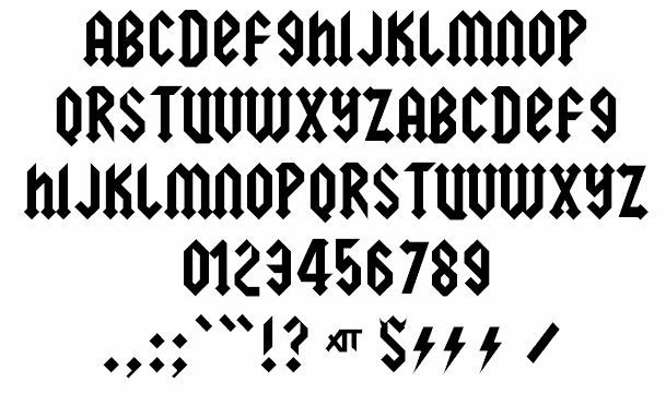 Ac Dc Font Squealer By Larabie Fonts