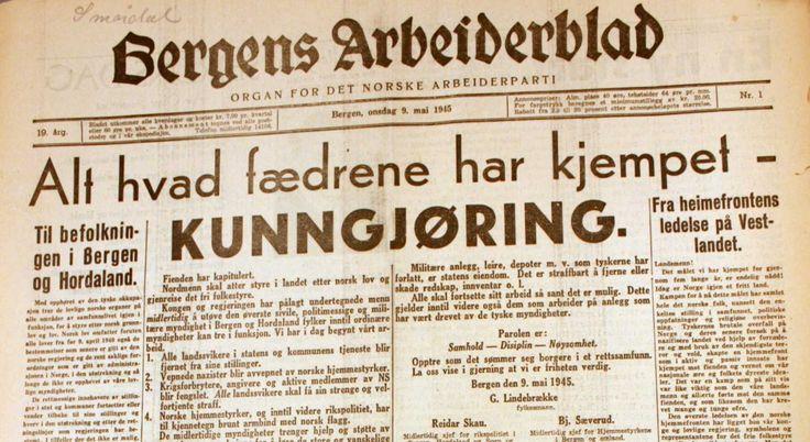 Bergens Arbeiderblad kom ut igjen 9. mai 1945. Foto: BA arkiv Bergens Arbeiderblad kom ut igjen allerede 9. mai 1945, etter å ha vært stengt nesten hele krigen på grunn av at redaksjonen ikke ville føye nazistenes ønske om å styre innholdet.