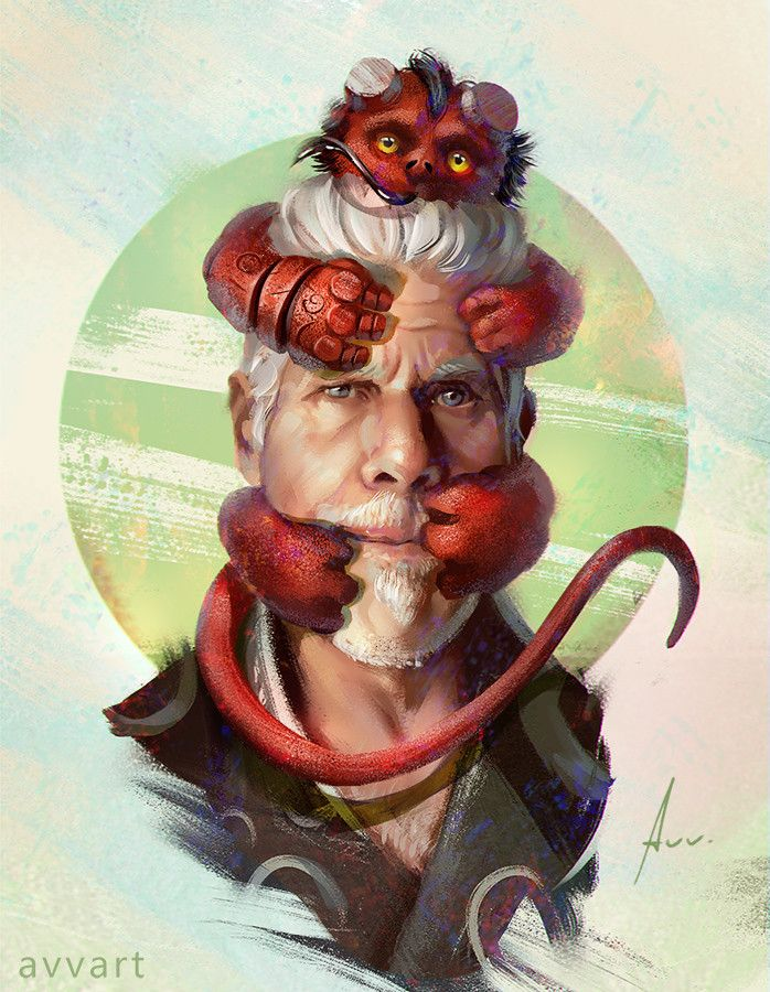 Hellboy, Aleksei Vinogradov on ArtStation at https://www.artstation.com/artwork/Ral3E?utm_campaign=digest&utm_medium=email&utm_source=email_digest_mailer