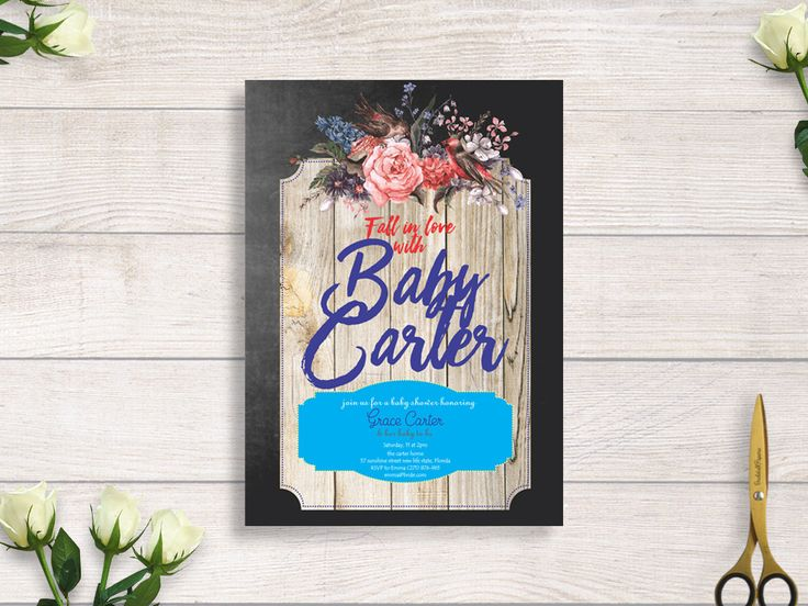 rustic wood baby shower invitation, chalkboard invite, floral invite, floral rustic invite, fall in love invitation baby shower#BBS210 by BRIDETALKpaperie on Etsy
