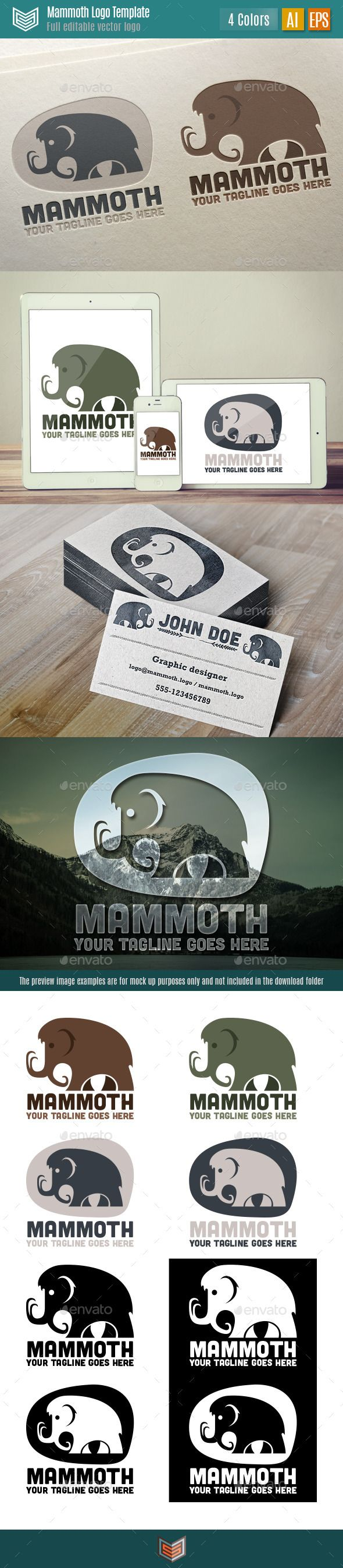 Mammoth Logo — Vector EPS #retro #ice • Available here → https://graphicriver.net/item/mammoth-logo/10736046?ref=pxcr