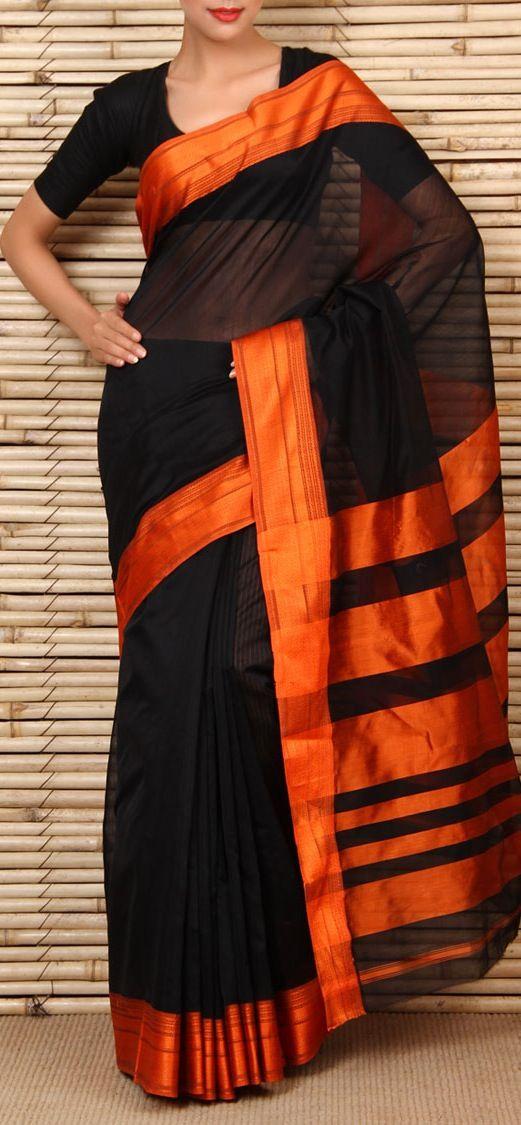 Cotton Silk Maheshwari Saree. original pin by @webjournal. Such royalty in black and orange combo
