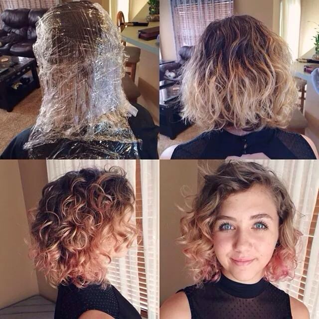 Rose And Pink Ombr 233 Hair Short Curly Blonde And