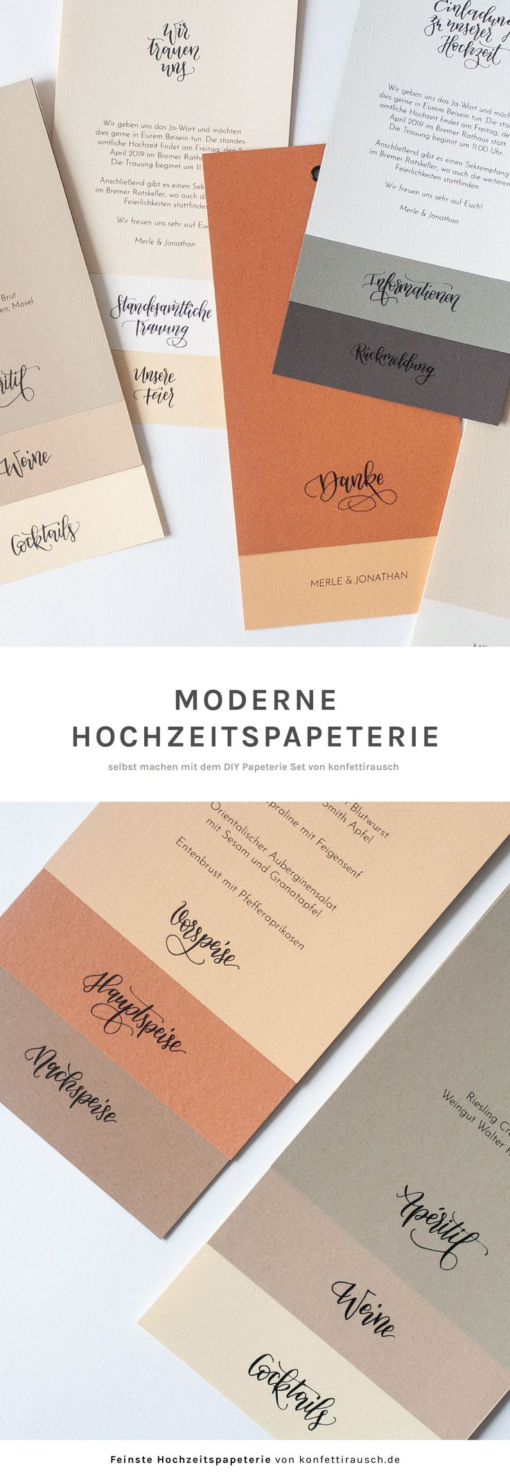 Hochzeitspapeterie selbst machen mit schöner Kalligrafie aus dem DIY Set