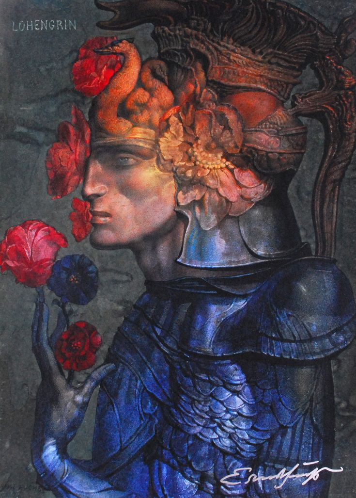 Ernst Fuchs, Lohengrin Thank you to all my followers to be with me to join great art. Tho whom I did not replay for my following, its just because technical difficulties or others, I do thank you very much and I do watching you as well. Im so happy to have 1000 followers today and this lithograph (originally watercolour) by Ernst Fuchs is my gift to you.   Are we really from Cygnus?