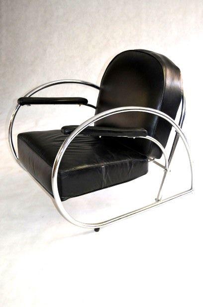 Art Deco Sofa Suite in chrome & leather.