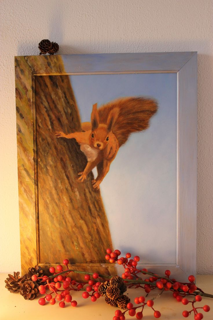 Eekhoorn in het bos, olieverf schilderij op paneel.