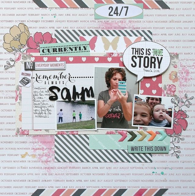 SAHM - Scrapbook.com  This layout features the NEW Daily Stories Collection from Teresa Collins.