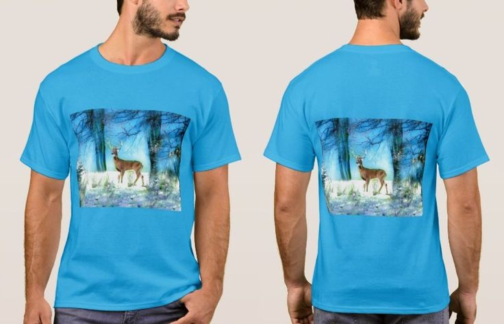 Men's Teal Blue T-Shirt with Lovely Deer in Snowy Forest