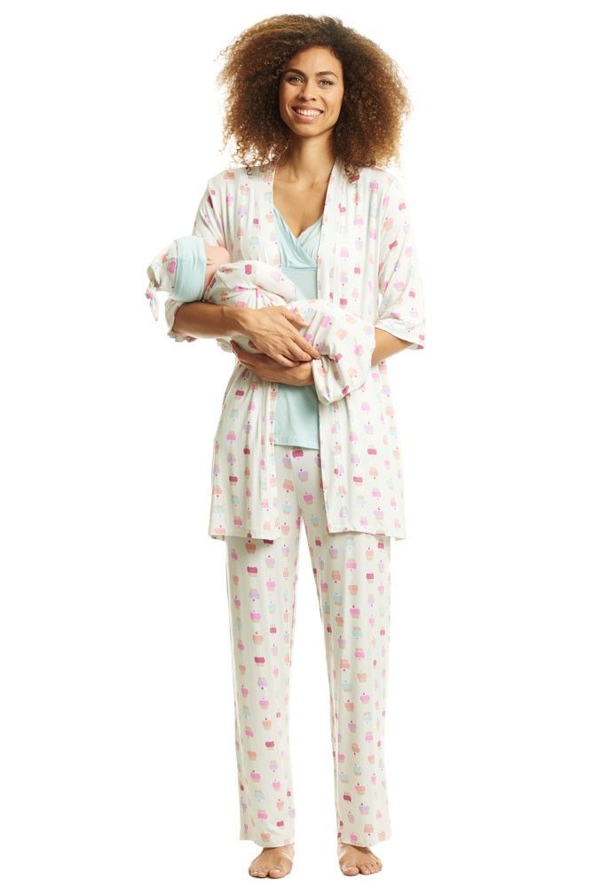 27319ea4a8dcb Analise 5-Piece Mom and Baby Maternity and Nursing PJ Set (Cupcakes ...
