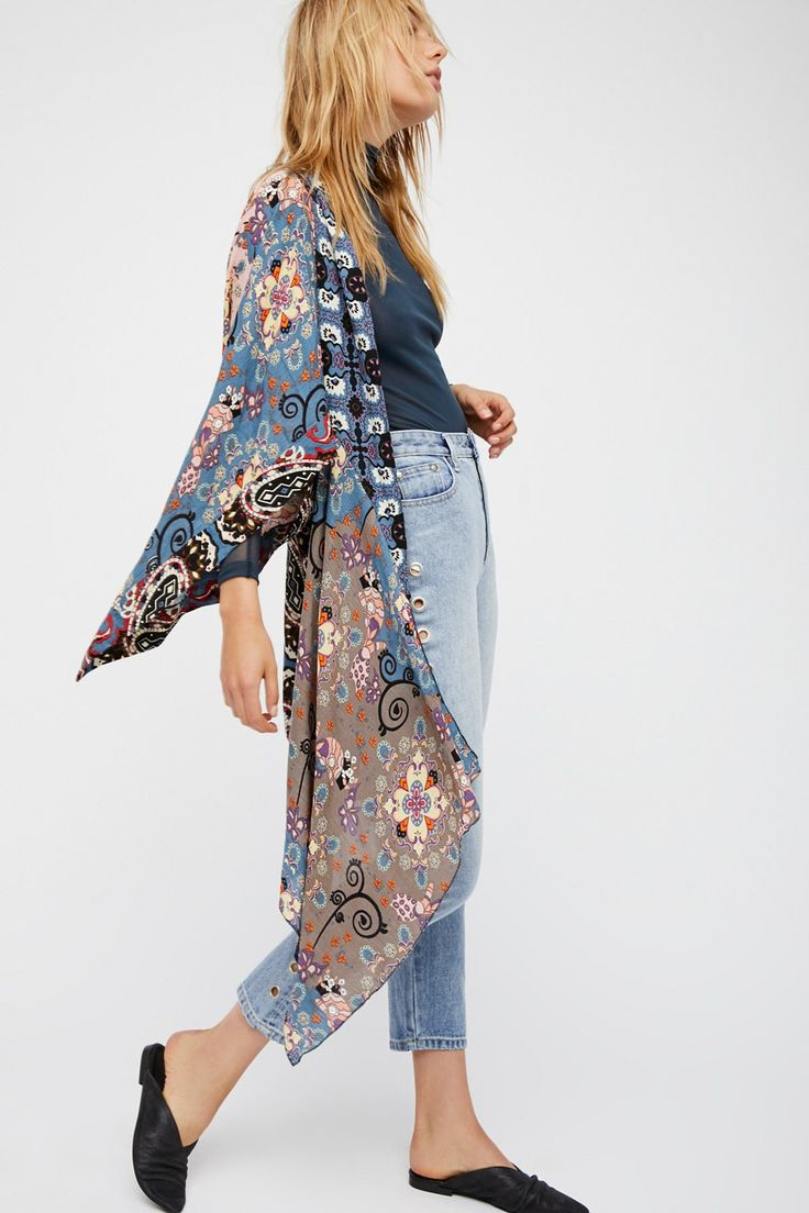 Little Wing Mix Print Kimono | Beautiful mixed print kimono featuring an effortless, drapey fit with an asymmetrical hem and back cutout details.