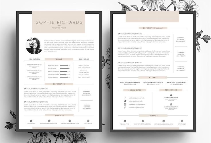 3 page cv template   business card by emily u0026 39 s art boutique