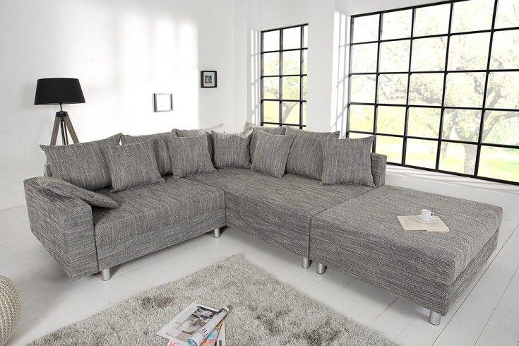Design Ecksofa mit Hocker LOFT Strukturstoff grau Federkern Sofa OT beidseitig aufbaubar