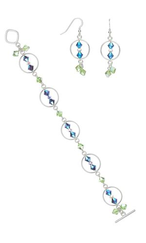 Bracelet and Earring Set with Swarovski Crystal Beads and Sterling Silver Links - Fire Mountain Gems and Beads