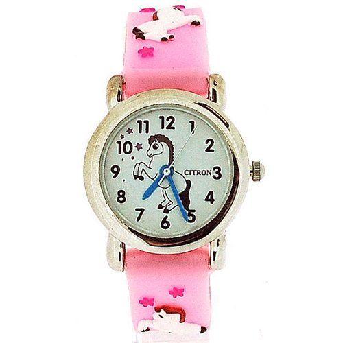 Citron Analogue Girls - Kids Dancing Pony Pink Silicone Strap Watch KID86