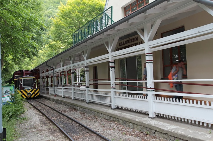 Small train are carries tourists around the mountain lake. This nice place named Lillafured. It is nead Miskolc, Hungaria.