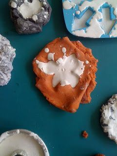 Make moulds for Plaster Of Paris out of playdough.