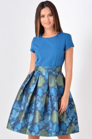 Merida Contrast Dress in Teal