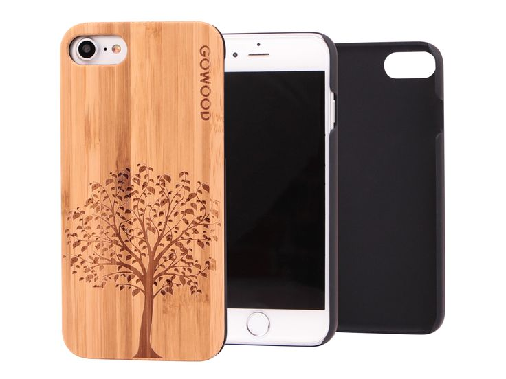 iPhone 7 wood case with engraved tree on bamboo backplate & shock absorption protective polycarbonate sides. #iPhone7 #phone # case #bamboo #tree #iPhone
