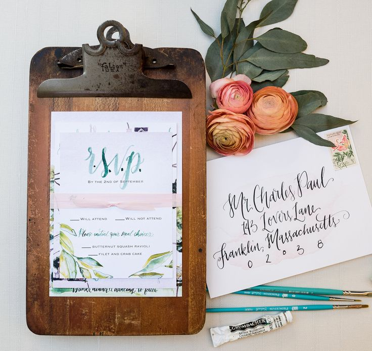 Custom Wedding venue watercolor painting green and