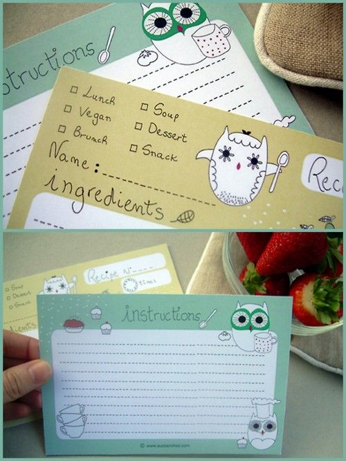 Owl recipe cards! @wynne packard