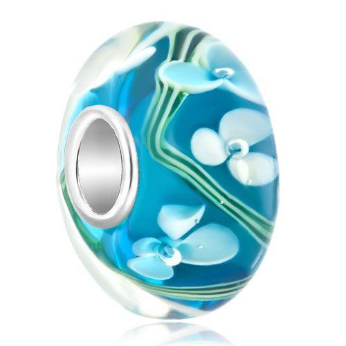 925  Sterling Silver White Flower Ocean Blue Fit All Brands Murano Glass Beads Charms Bracelets Pugster.com