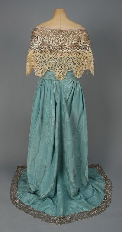 ~CALLOT SOEURS MOIRE SILK EVENING GOWN with METALLIC LACE, c. 1912~