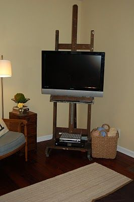 wooden easel tv stand woodworking projects plans. Black Bedroom Furniture Sets. Home Design Ideas