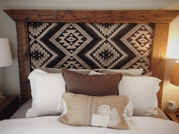 Rustic Upholstered Barnwood Headboard by ThreeArrowDesign on Etsy, $250.00