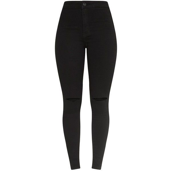 Jovie Black Knee Rip Skinny Jean ($38) ❤ liked on Polyvore featuring jeans, distressed jeans, high rise skinny jeans, stretch jeans, ripped jeans and stretch skinny jeans