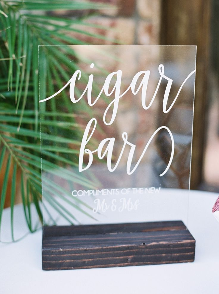cigar bar wedding sign
