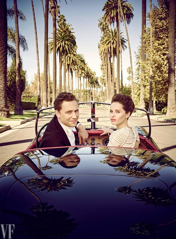 GAHHHH!!!!  #TomHiddleston and Felicity Jones ones photographed by Jason Bell in a 1954 Jaguar XK120 on North Bedford Drive, in Beverly Hills for the March issue of Vanity Fair - Hollywood issue (Available in UK, Feb 6).
