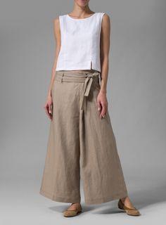 Linen Wide-Leg Pants With Short Tank