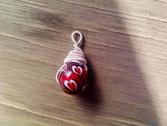 Red Heart Valentines Day Sweetheart Pendant by JennieVargasJewelry,