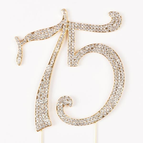 75 Gold Cake Topper - 75th Birthday or Anniversary Rhinestone Metal Number Decoration Get the Best for the Best: With such a momentous occasion, it's worth the splurge. With its sparkles and metal set