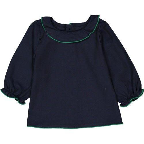 Jeanne - blouse pour le blog Les Trouvailles de Joséphine - devant - popeline bleu marine