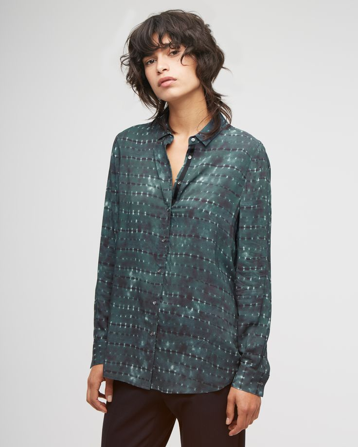 Jigsaw Deep Teal Space Dye Smocked Back Shirt