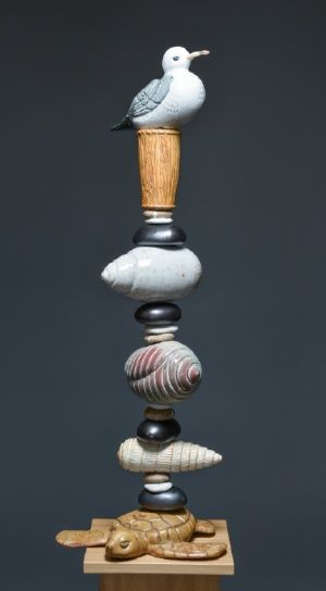 Laurie Landry Pottery Ceramic Totems Garden Totem