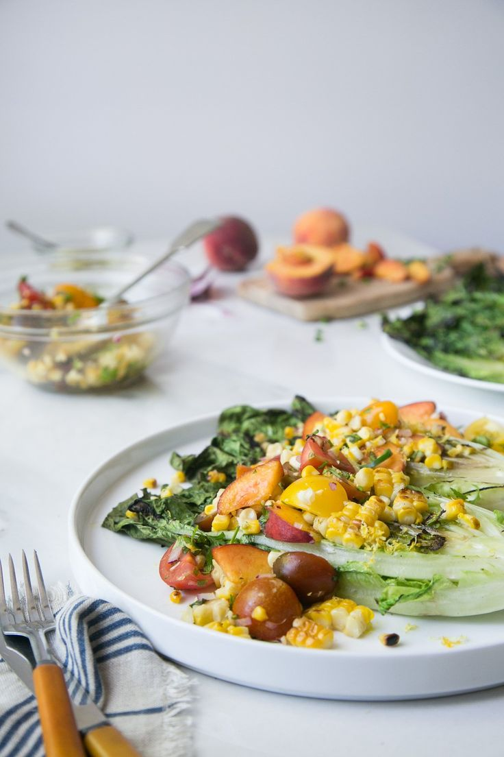 Grilled Romaine Salad with Corn, Tomatoes & Peaches by The Green Life