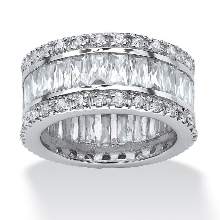 Magnificent round and emerald-cut cubic zirconia eternity ring captures the luxury of a design classic, glittering with-neyHfxgm