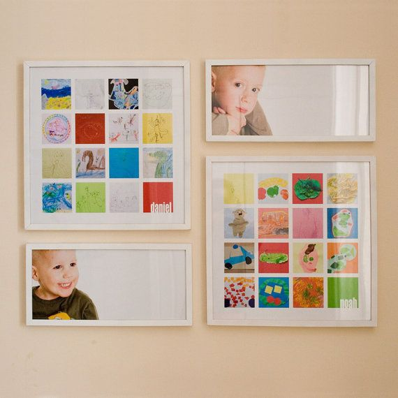 Scan your little artist's projects design a collage. Etsy but looks like an easy DIY!