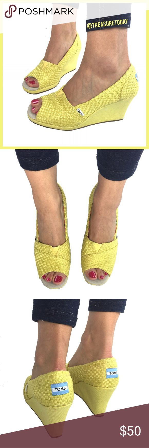 TOMS Adoarble Yellow Peep Toe Wedge Espadrilles Love these! Great for the coming sprint and summer. Gently worn a few times, minor wear (see pictures). Fits size 8 or 8.5! No box. Bundle 2 or more items to get discount 💛 TOMS Shoes Wedges