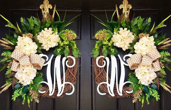 Double Door Wreaths Summer Wreaths for Front Door by FleursDeLaVie