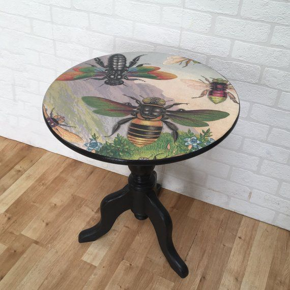 Upcycled Round Side Table Hand Painted In Graphite Black
