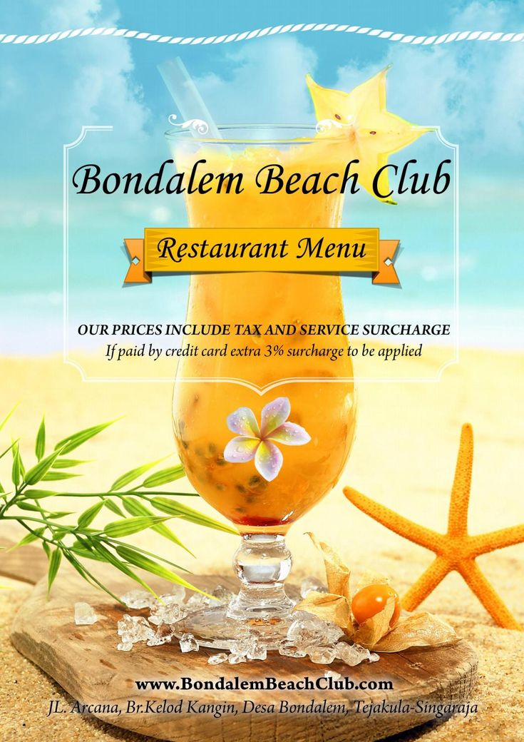 Bondalem beach club menu 2016/17