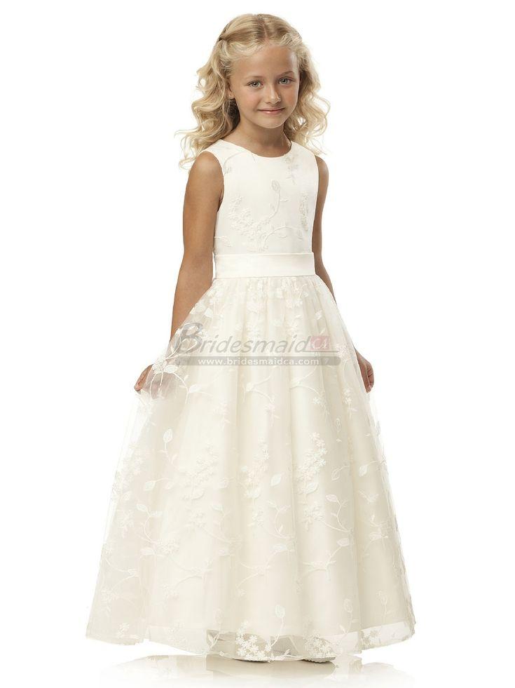 Ivory Long Lace Jewel Neckline Flower Girl Dress FGCA-055 - BridesmaidCA.com