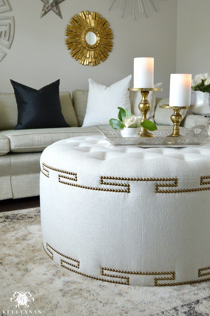 upholstered stools for living room. Elegant Uphostered Ottoman with Gold Nailhead Trim Best 25  Upholstered ottoman ideas on Pinterest