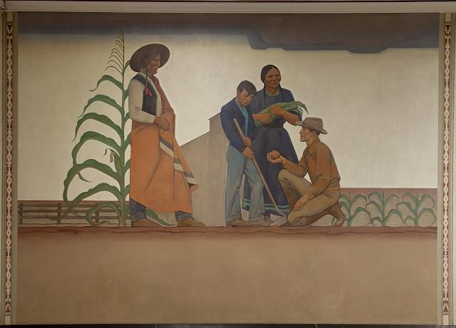 mural bureau of indian affairs indian teacher by maynard dixon at the department of. Black Bedroom Furniture Sets. Home Design Ideas