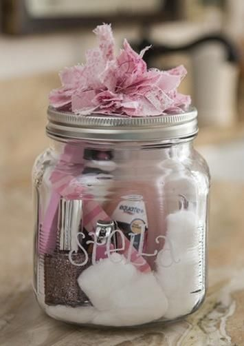 Manicure in jar is a useful and cute gift to give to your bridesmaids or at a shower. We'd up the ante by putting the article in a clear or color tinted mason jar instead, so it can be used as a drinking glass, etc. later. You can make it even more personal by adding their favorite color combos, etc. ---Texas Wedding Guide
