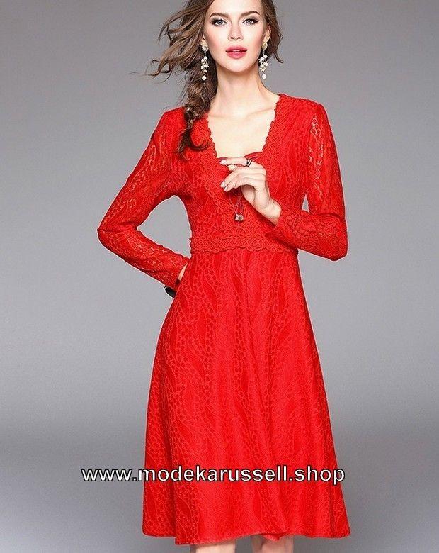 A Linie Damen Kleid Elegant in Rot